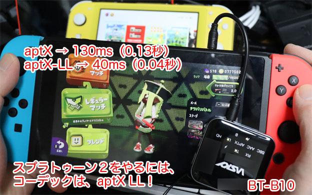Nintendo SwitchとBluetoothトランスミッターBT-B10