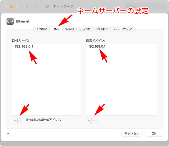 macOS Big Sur 11.0 システム環境設定 ネットワーク DNSサーバ設定