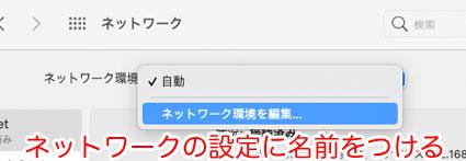 macOS Big Sur システム環境設定 ネットワーク ネットワーク環境を編集…