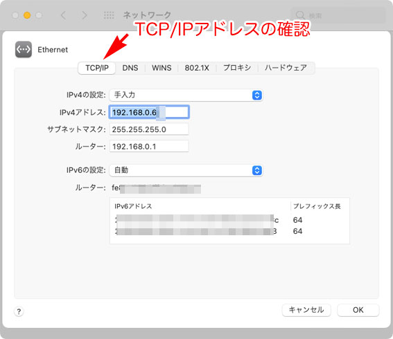 macOS Big Sur 11.0 システム環境設定 ネットワーク TCP/IP