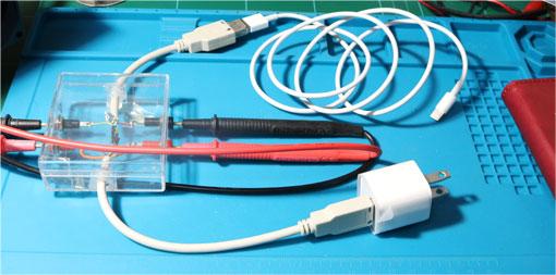 iPhoneの充電電流と電圧測定配線