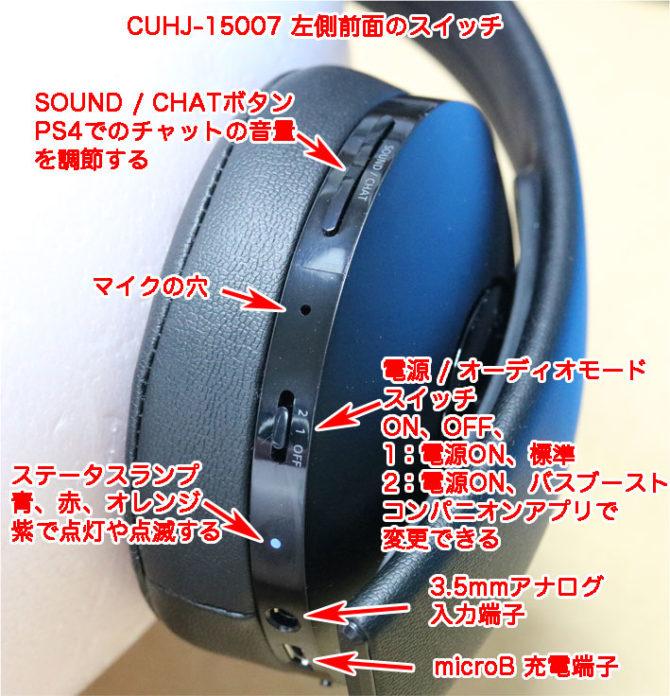 CUHJ-15007の操作スイッチ