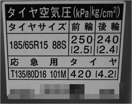 プリウスのタイヤの空気圧について