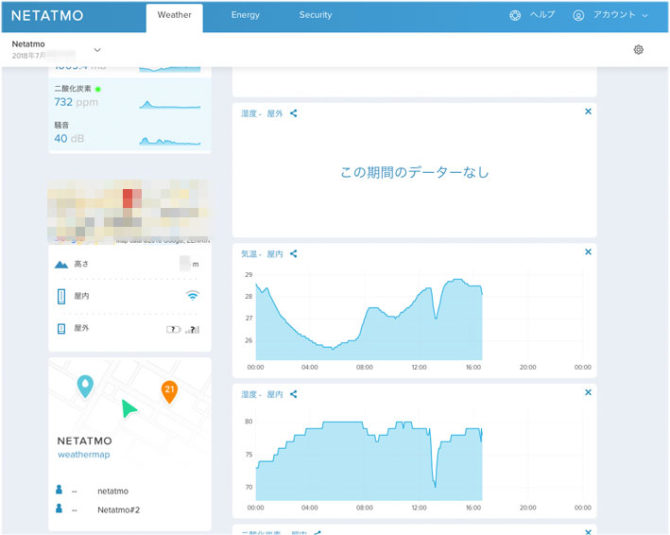 Netatmoのユーザページ