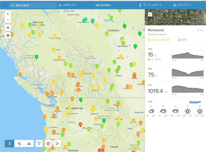 Netatmo カナダの気温