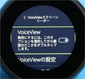 VoiceViewを選択すると、緑の枠で囲まれるテキストが読み上げ