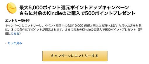 ポイントアップキャンペーンエントリー Kindle購入