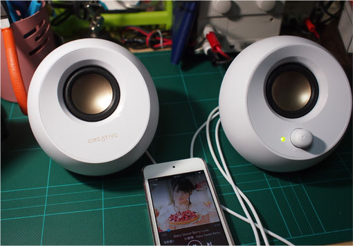 iPod-touch-6とCreativePebbleでテスト