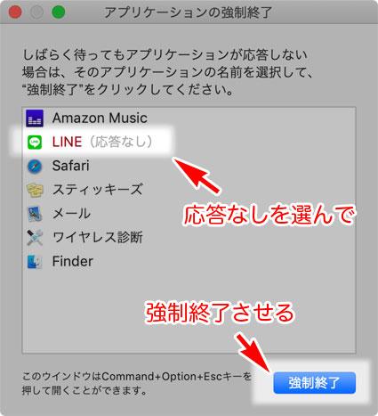 macOS アプリケーションの強制終了 ウインドウ