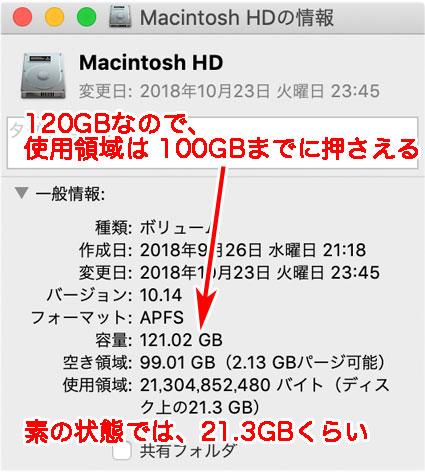 Mac mini 起動直後の容量は、macOSが21.3GB