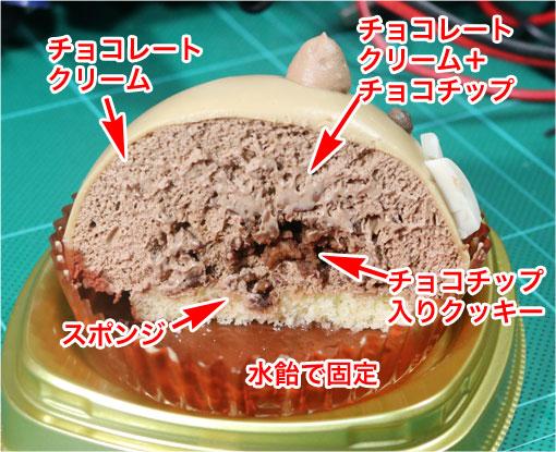 いのししチョコレートケーキ断面