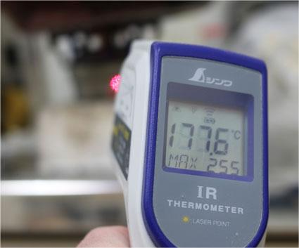 アルコールストーブの表面温度100〜200度
