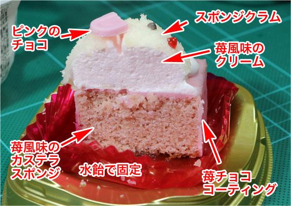 うさぎストロベリーケーキの断面