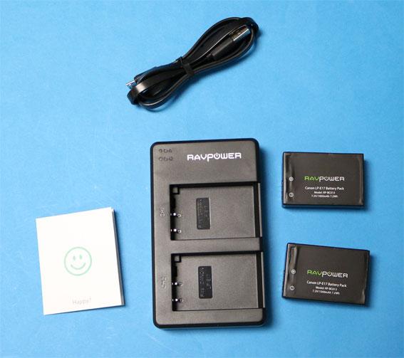 RAVPowerLP-E17互換バッテリー同梱物