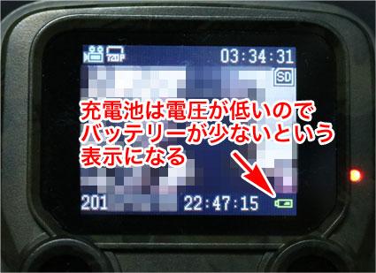 Enlleo トレイルカメラのバッテリー表示アイコン