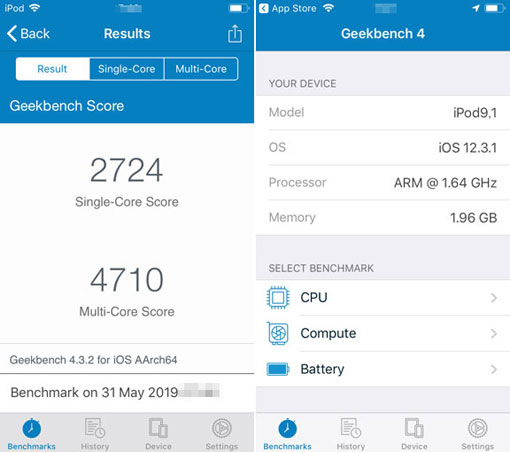 iPod touch 7のベンチマーク Geekbench 4