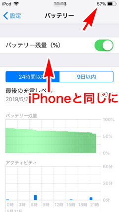 iPod touch 7 バッテリー残量%