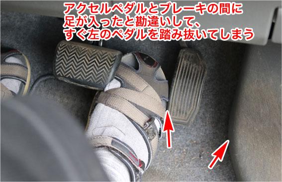 でっぱりの左端をアクセルペダルの左端と勘違いしてブレーキペダルの右に右足があると勘違いする