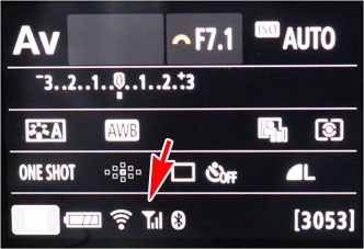 EOS Kiss X10のWi-Fi送信のアイコン