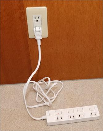 コンセントと電源タップスイッチ付きの例