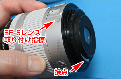 EF-S 15-55mm IS STMのEF-Sレンズ取り付け指標