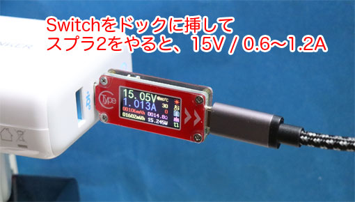 Nintendo Switchのドックへの電源は、15V / 1〜1.5Aが必要