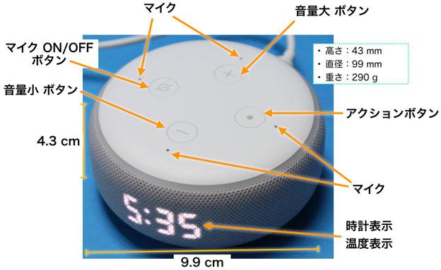 Echo Dot 3rd with clock 上前面観 各部名称