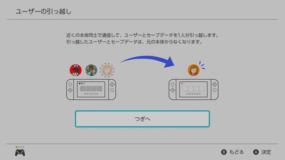 Nintendo Switch ユーザーデータの引っ越し