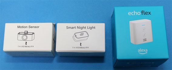 Echo Flex とモーションセンサー、スマートナイトライトの箱