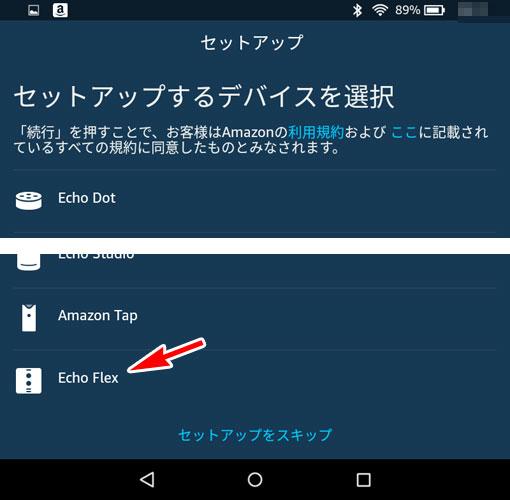 デバイスのセットアップで、Echo Flexを選択