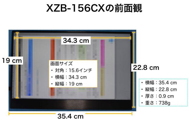 XZB-156CXの正面、パネル部