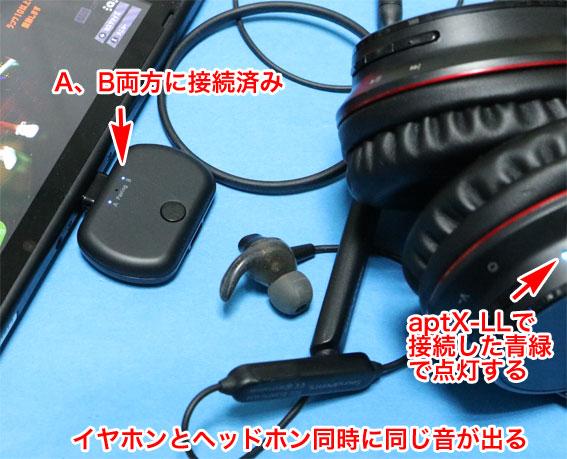 BT-TM700は、2つのイヤホン/ヘッドホンに同時に音が出せる