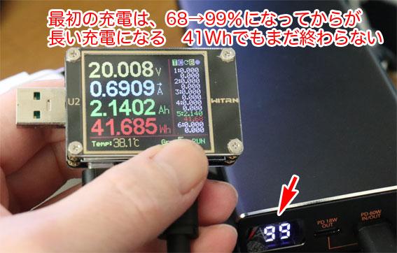 CHE-109の最初の充電は、OLED表示がいい加減