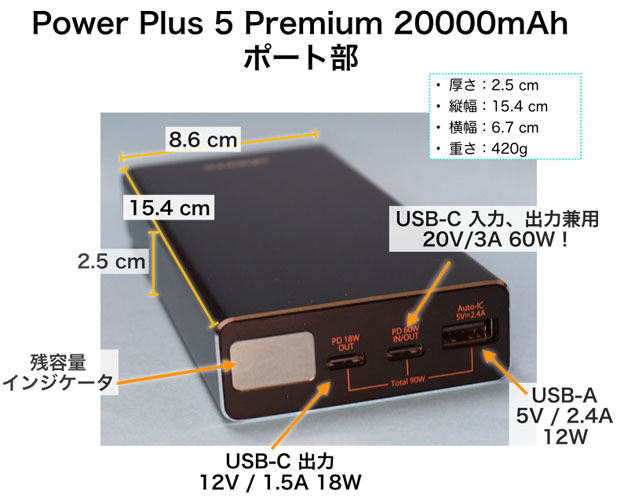 cheero Power Plus 5 Premium 20000mAh ポート