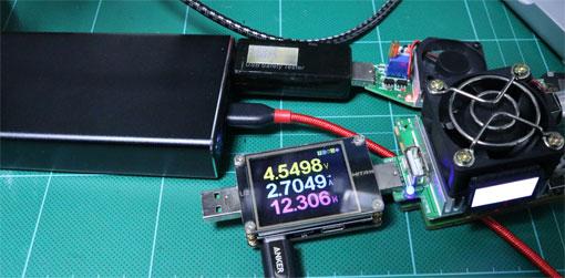 CHE-109のポート2つ同時充電での電圧降下