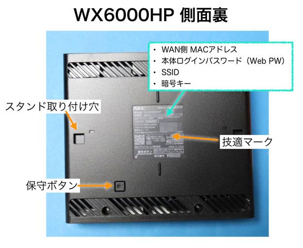 PA-WX6000HP 側面裏側