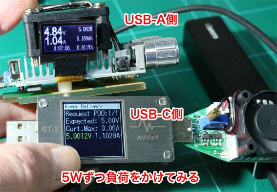 CHE-108の負荷テスト USB-AとUSB-Cポートに5Wずつ