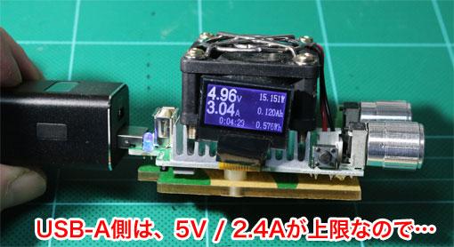 CHE-108のUSB-Aポートの5Vの電流
