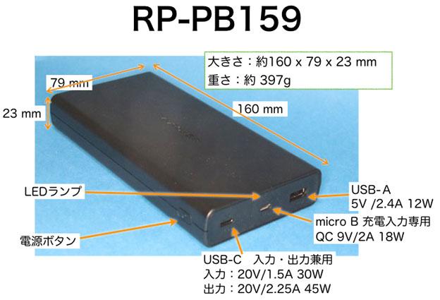 RAVPower RP-PB159 の各名称