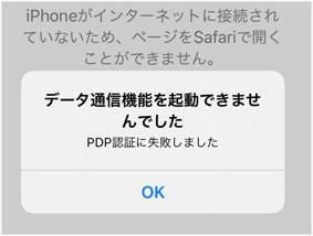 iPhone SE PDPの認証に失敗しました の例