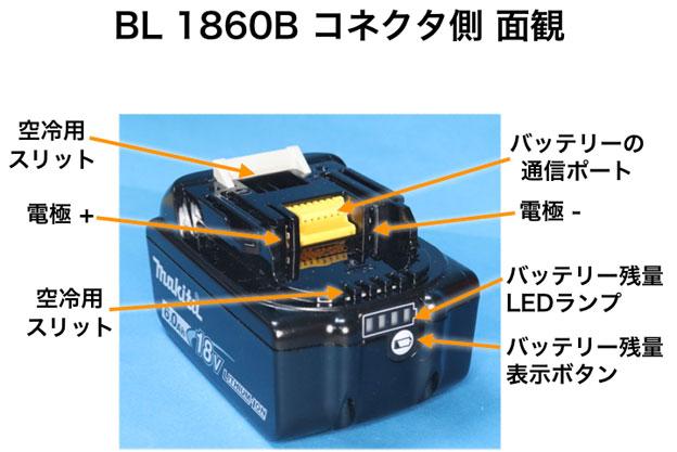 BL1860Bの後面観 コネクタ部