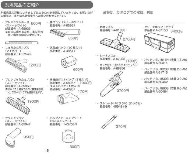 CL282FDの別売品リスト