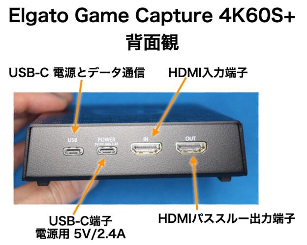 4K60 S+の背面観 コネクタ類