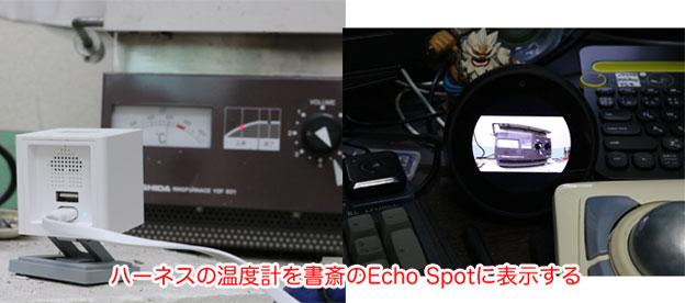 ハーネスの温度計をIPネットカメラ ATOM Camで監視