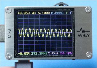 CT-3 で、モバイルバッテリーのUSB-Cの開放電圧のリプル成分表示