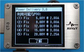 AVHzY CT-3 Power Delivery 3.0の利用できるPDO