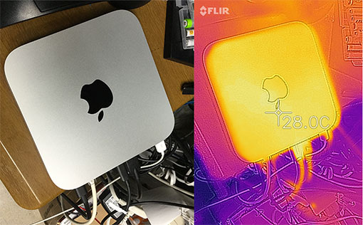 Mac mini M1 2020の表面温度は 30度以上になりにくい
