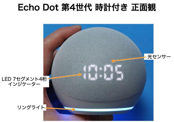 Echo Dot 第4世代 時計付き 正面観