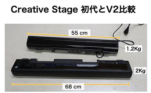 Creative StageとCreative Stage V2の大きさ違い