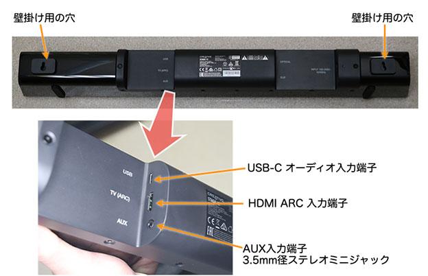 Creative Stage V2のUSB入力端子、HDMI ARC入力端子、AUX端子